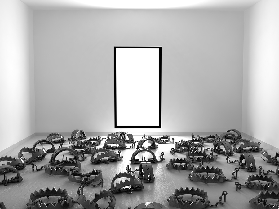cartoon image of a room full of bear traps.