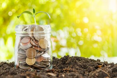 A photo of coins in a jar with a small plant sprouting out the top representing retirement savings.
