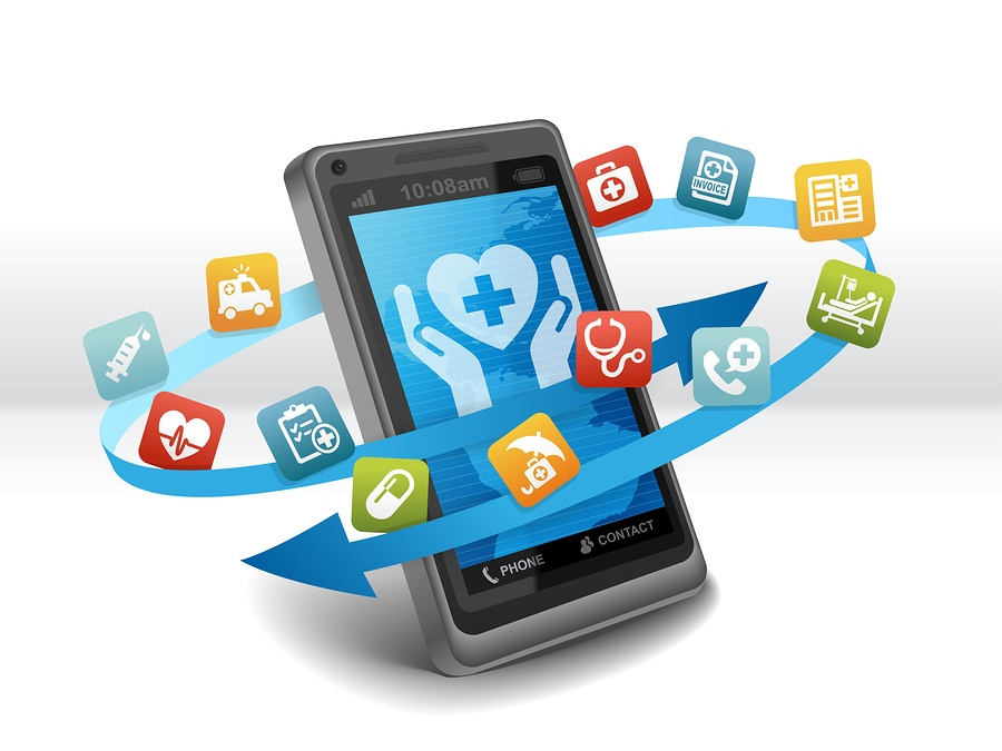 An image of a smartphone with app icons swirling around it.