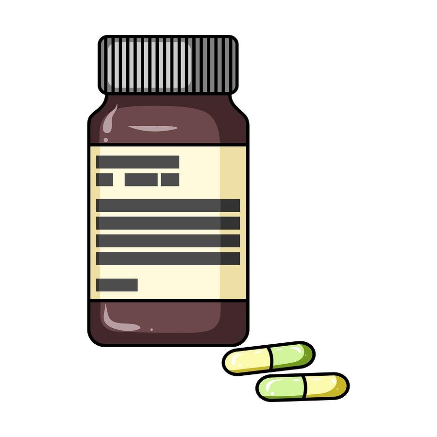 A cartoon image of a bottle of prescription pills.