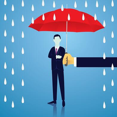 A cartoon image of someone holding an umbrella over a man to protect him from the rain.