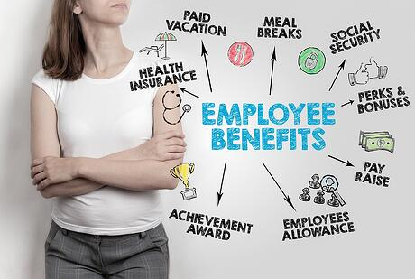 A graphic showing the various employee benefits sometimes included in employee benefits packages.