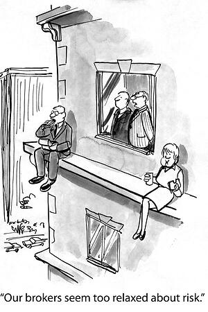 A cartoon drawing of two brokers sitting on a ledge and managers commenting that they seem too relaxed about risk.