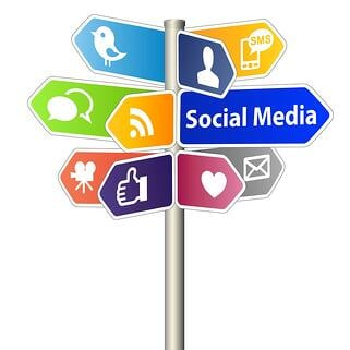 An image of multiple directional signs on a post, indicating various directions for different social media platforms.