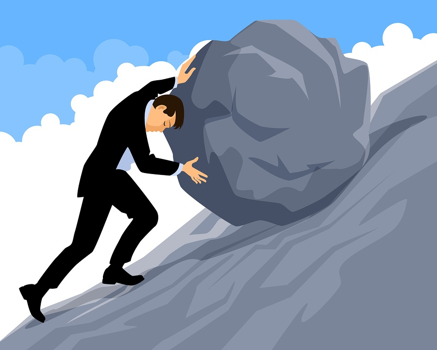 A cartoon image of a man pushing a heavy boulder up a hill.