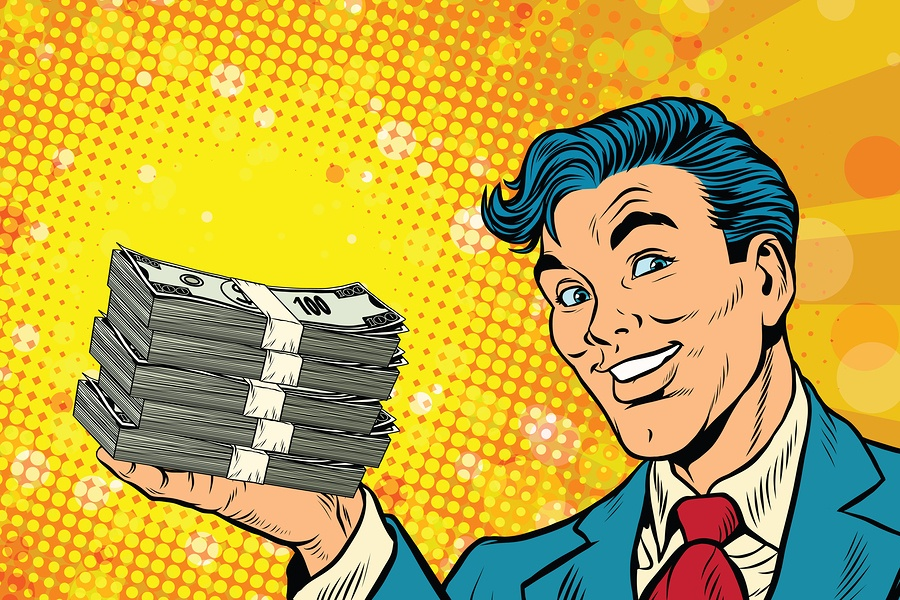 A cartoon image of a business man holding stacks of cash in his hand.