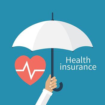 "A cartoon image of someone holding an umbrella over the words ""health insurance."""