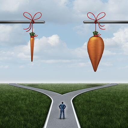 cartoon man standing at a fork in the road beneath a skinny carrot and a fat carrot.