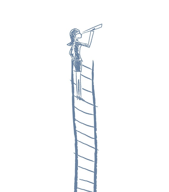 A sketch of a woman who climbed to the top of a ladder for a better view.