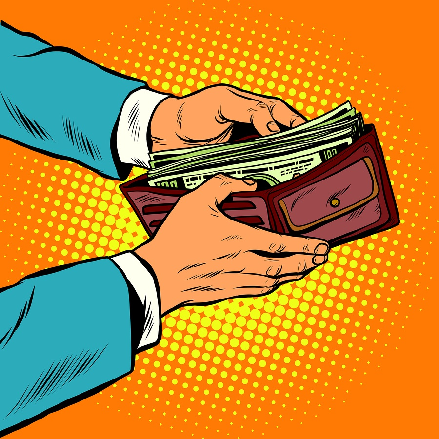 A cartoon image of a man opening his wallet to reveal a lot of cash.