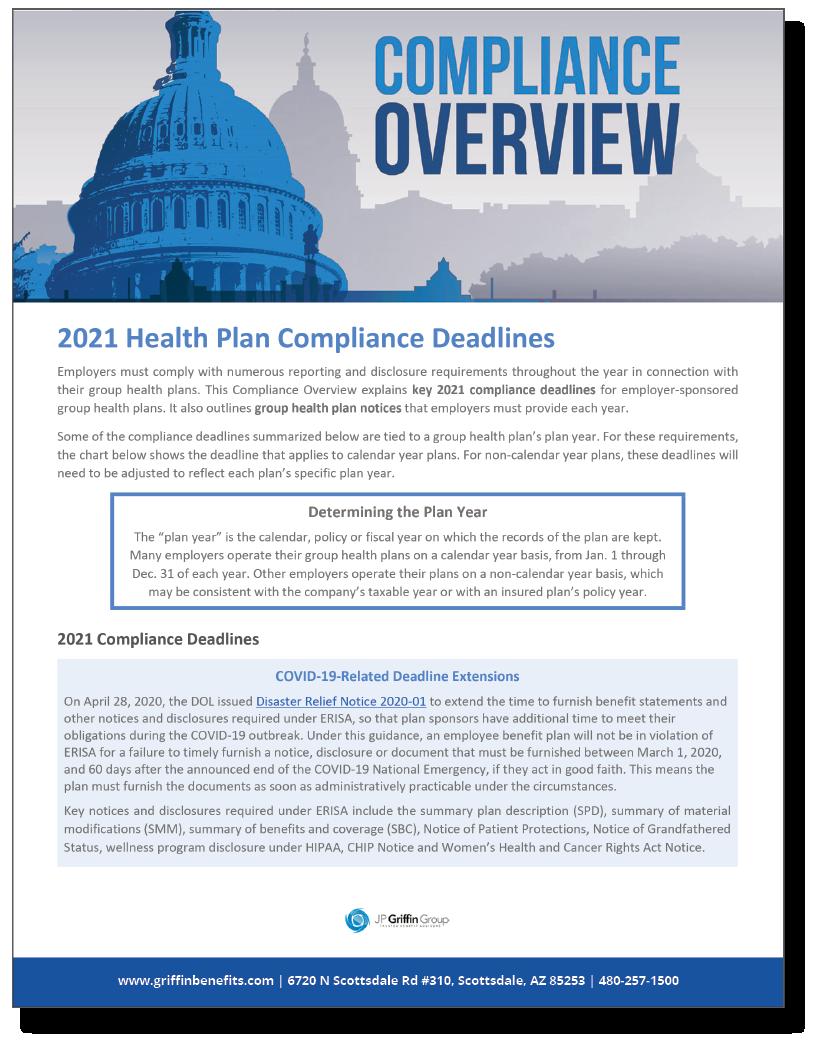 2021 Health Plan Compliance Deadlines