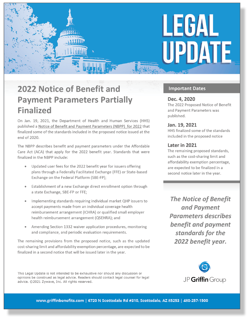 2022 Notice of Benefit and Payment Parameters Partially Finalized