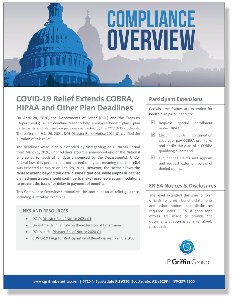 COVID-19 Relief Extends COBRA, HIPAA and Other Plan Deadlines (3/9)
