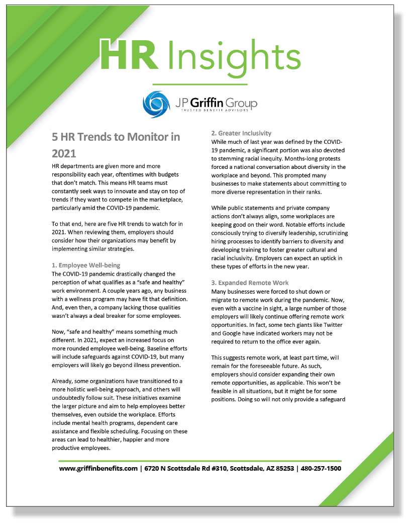 5 HR Trends to Monitor in 2021