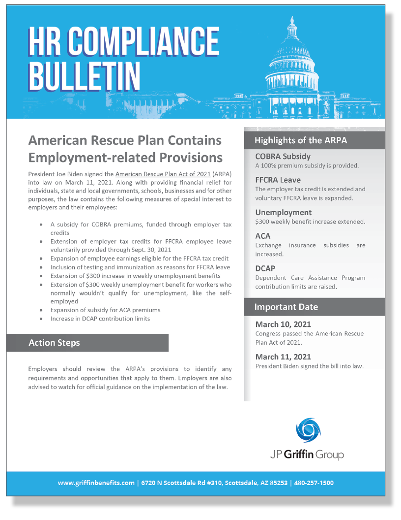 American Rescue Plan Contains Employment-related Provisions (Added 3/11)