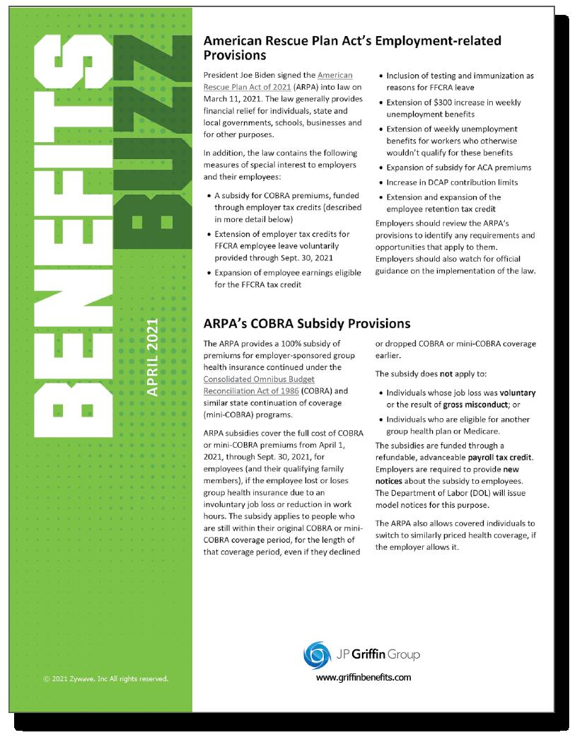 Benefits Buzz Newsletter - April 2021 (Added 3/26)