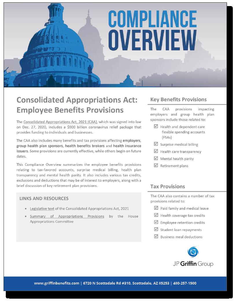 CAA Employee Benefits Provisions