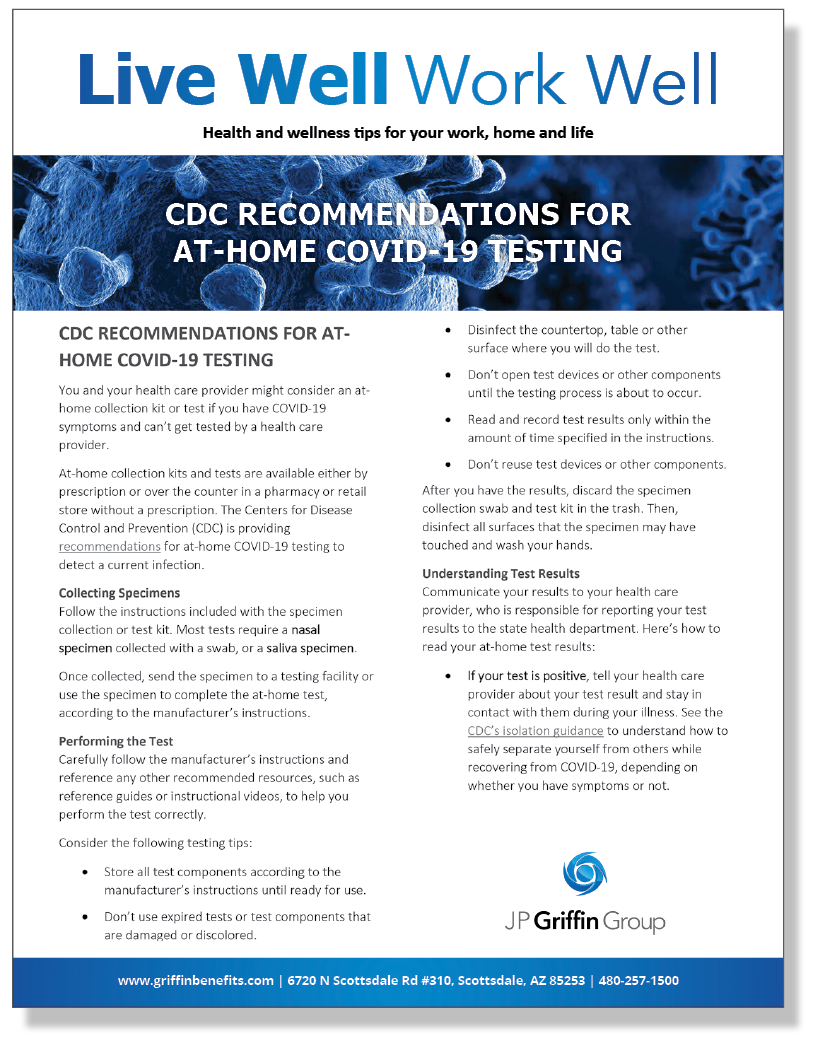 CDC Recommendations for At-Home COVID-19 Testing (2/1)