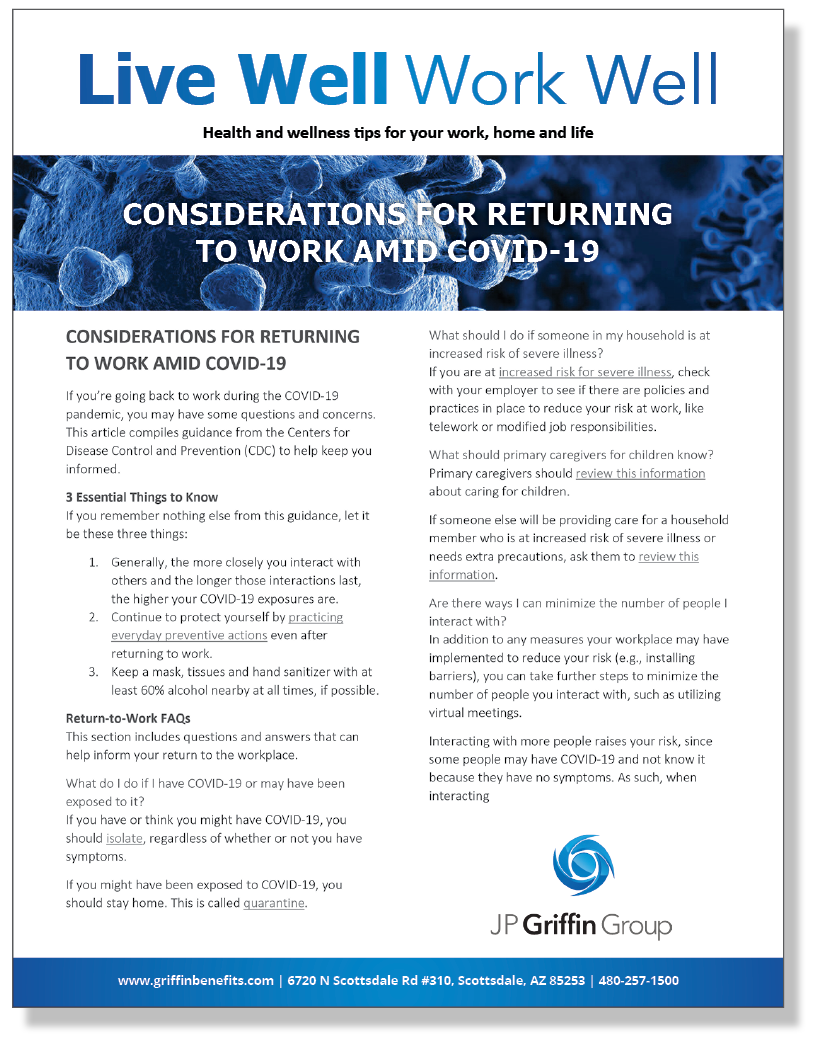 Considerations for Returning to Work Amid COVID-19