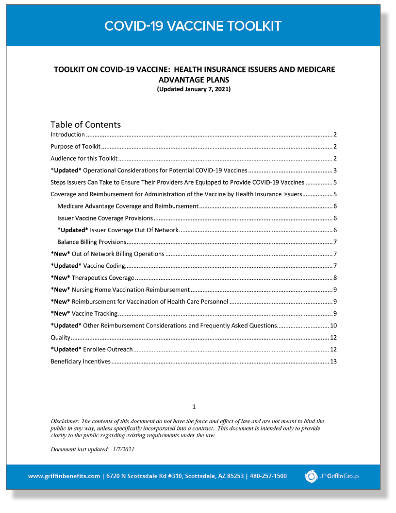 COVID-19 Vaccine Toolkit - Health Insurance Issuers and Medicare Advantage Plans (1/14)