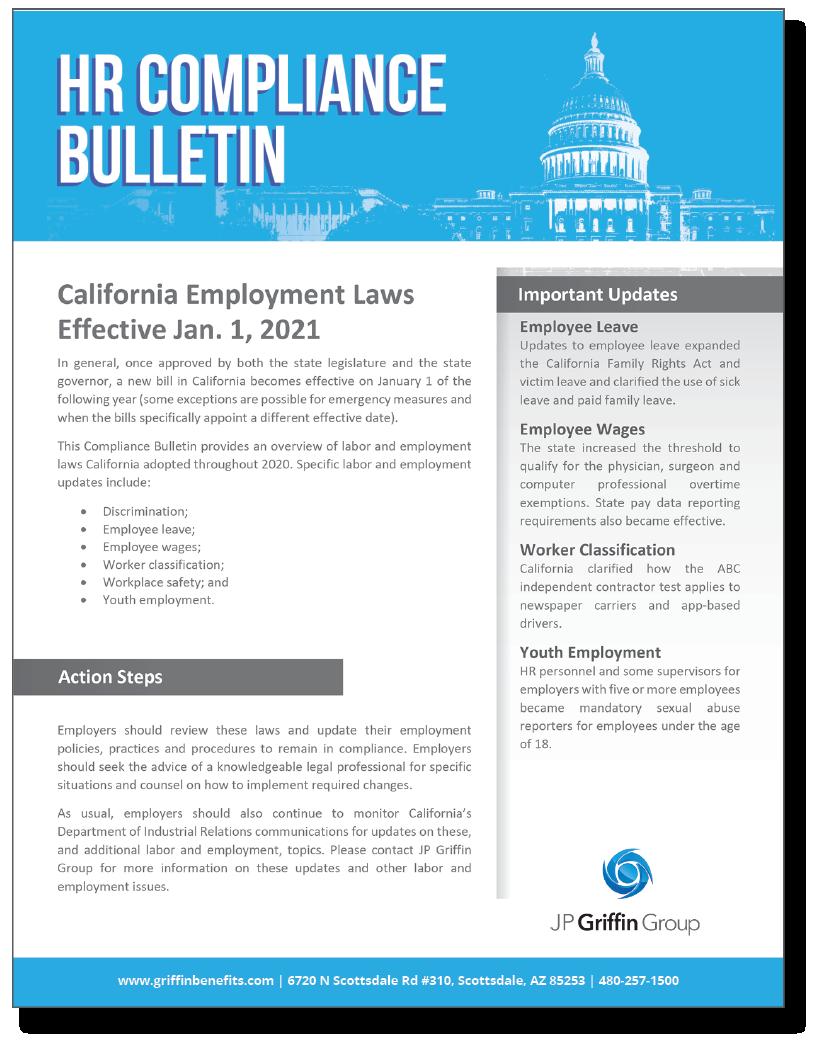 California Employment Laws Effective Jan 1 2021