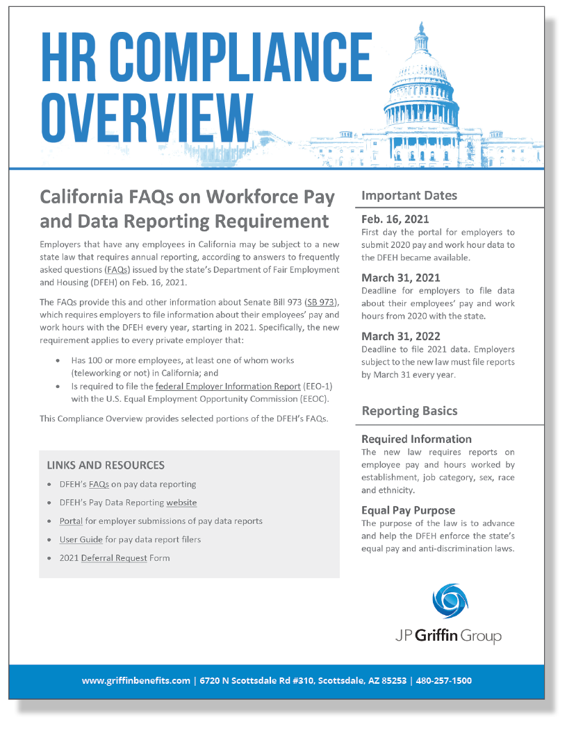 California FAQs on Workforce Pay and Data Reporting Requirement Under SB 793 (Added 2/26)