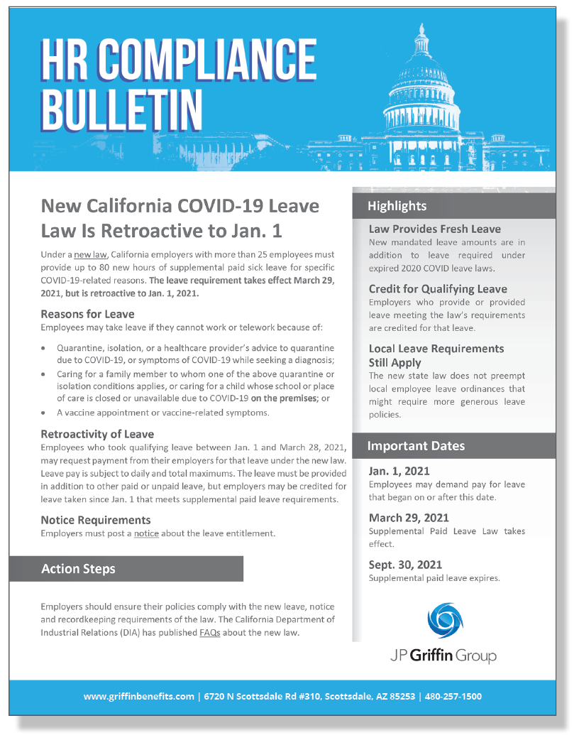 New California COVID-19 Leave Law Is Retroactive to Jan. 1 (3/26)