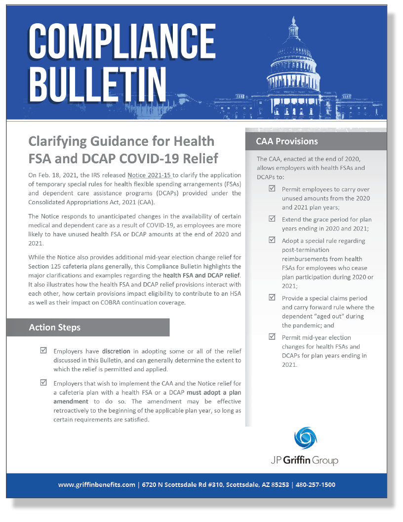 Clarifying Guidance on COVID-19 Relief for Health FSAs and DCAPs (2/24)