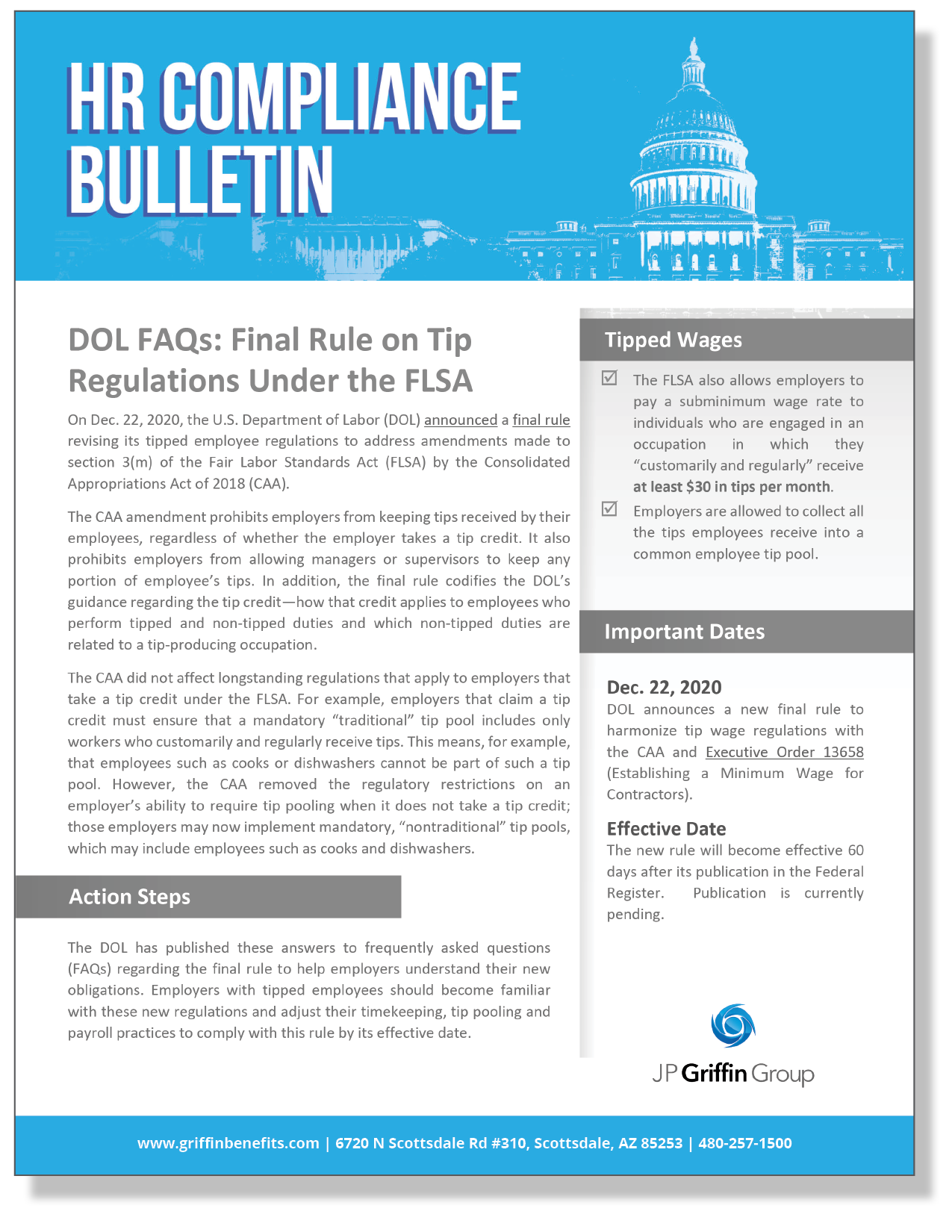 DOL FAQs - Final Rule on Employee Tip Regulations Under the FLSA