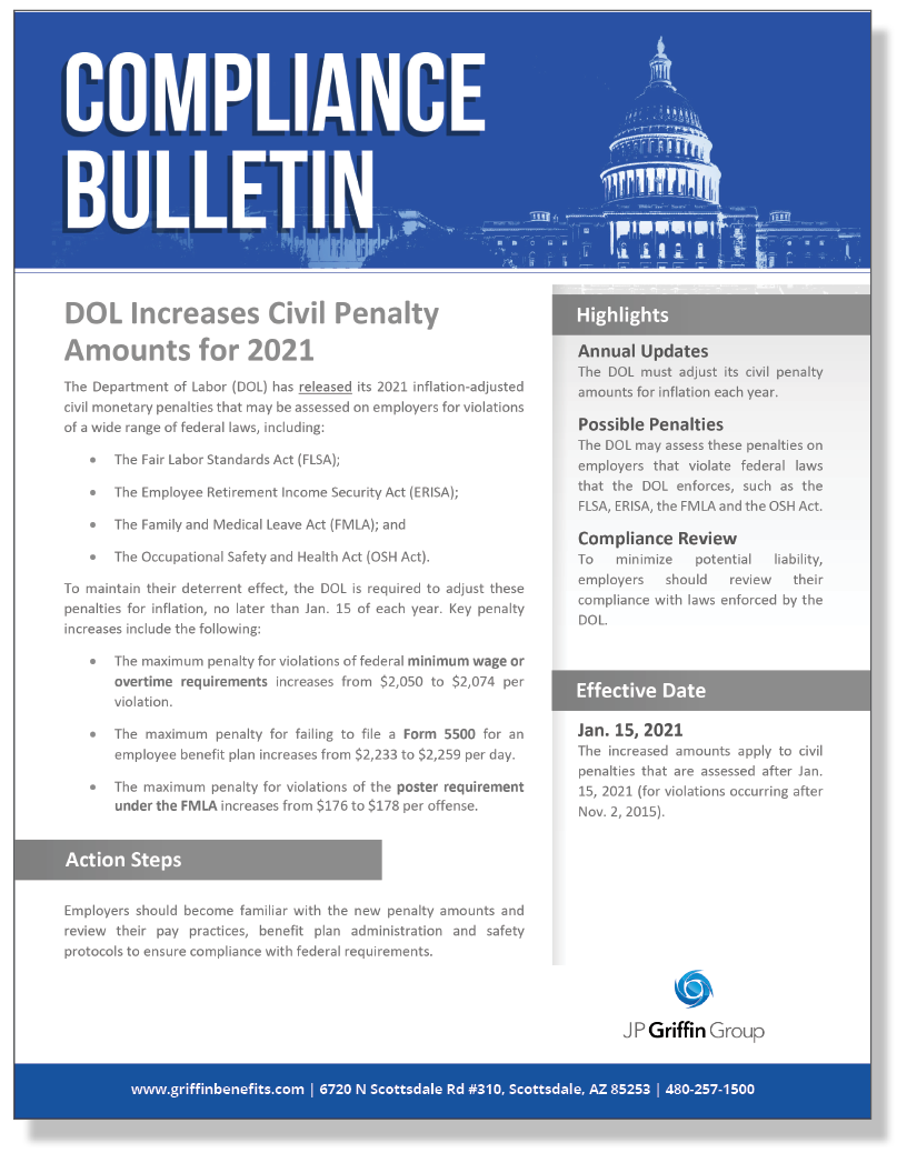 DOL Increases Civil Penalty Amounts for 2021