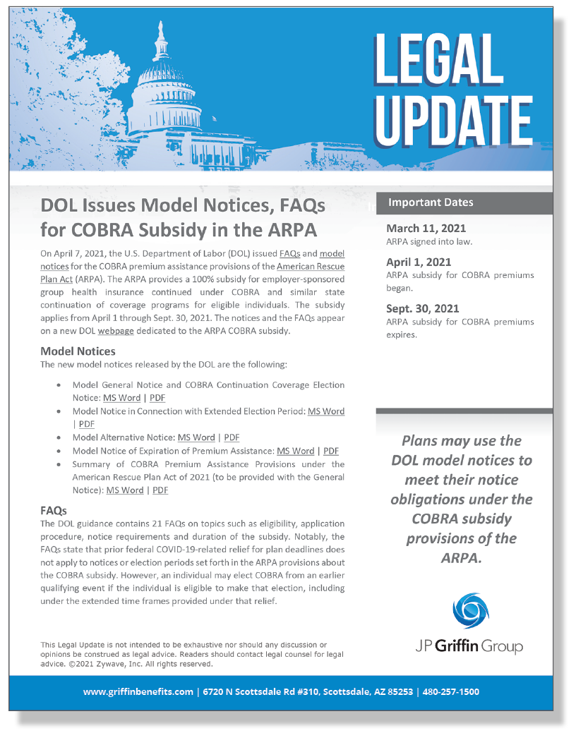 DOL Issues Model Notices, FAQs for COBRA Subsidy in the ARPA (4/7)
