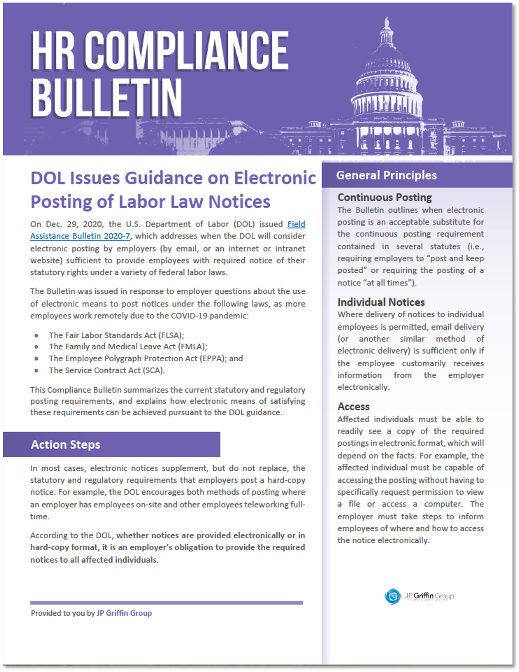DOL Issues Guidance on Electronic Posting of Labor Law Notices