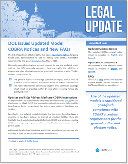 DOL Issues Updated Model COBRA Notices and New FAQs-1