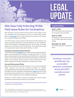 DOL Now Fully Enforcing FFCRA Paid Leave Rules for Coronavirus-1