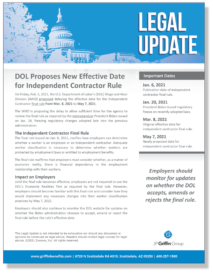 DOL Proposes New Effective Date for Independent Contractor Rule
