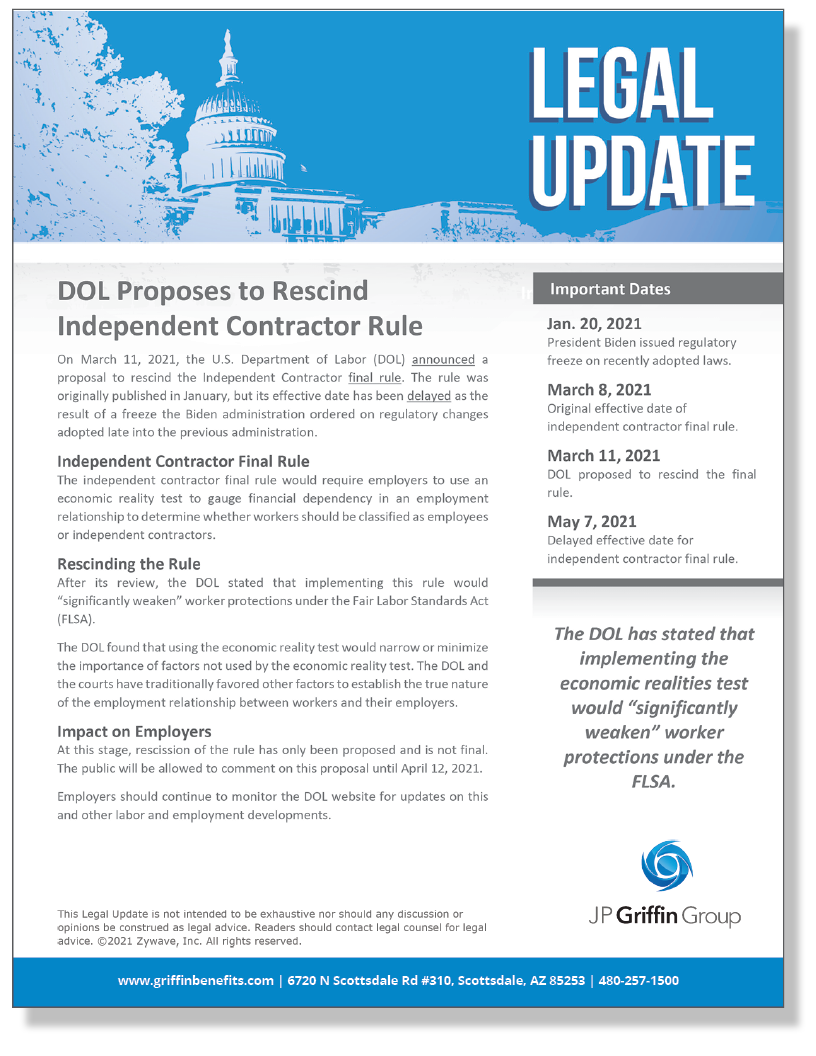 DOL Proposes to Rescind Independent Contractor Final Rule (Added 3/11)