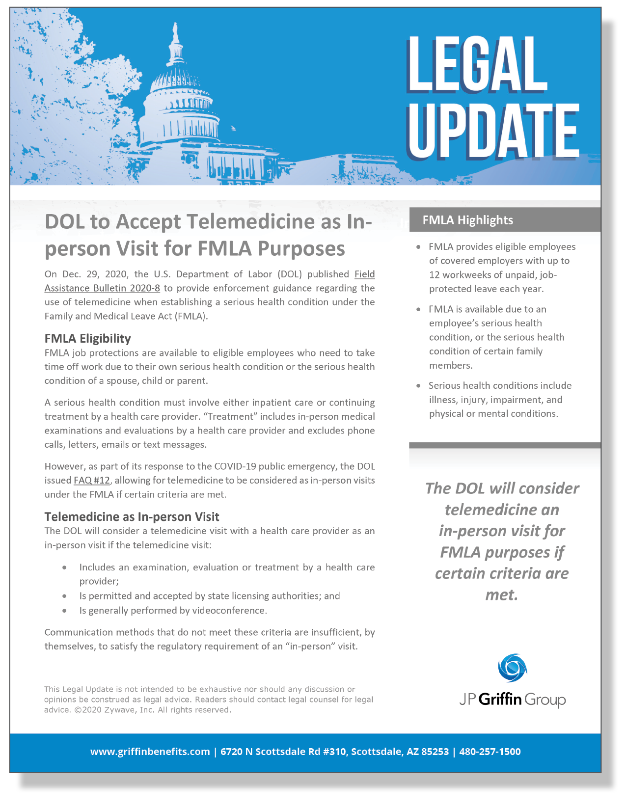 DOL To Accept Telemedicine as In-person visit for FMLA Purposes