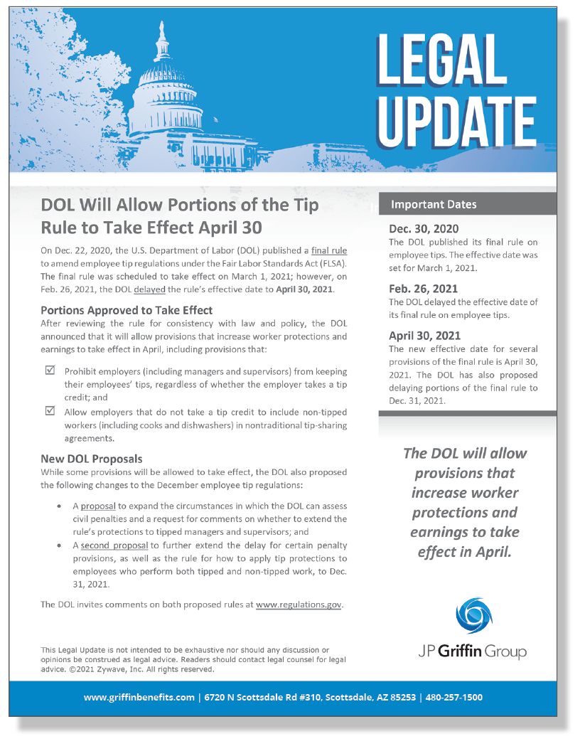 DOL Will Allow Portions of the Tip Rule to Take Effect April 30 (3/24)