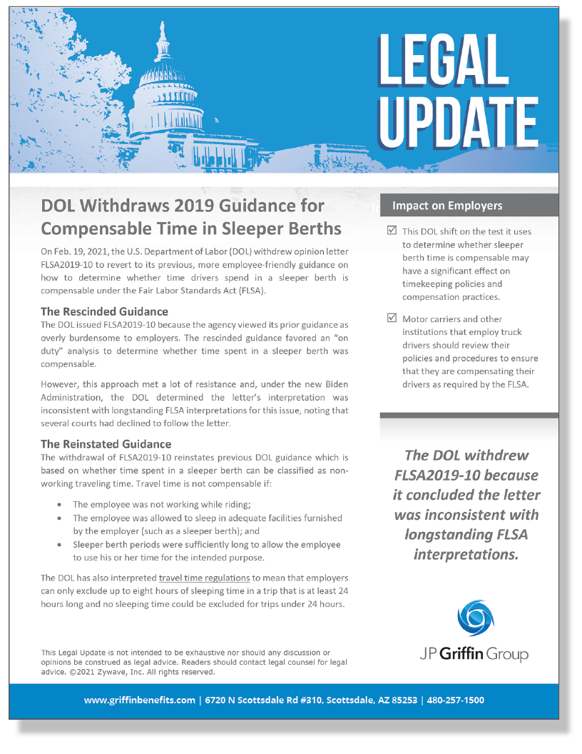 DOL Withdraws 2019 Guidance for Compensable Time in Sleeper Berths (Added 3/5)