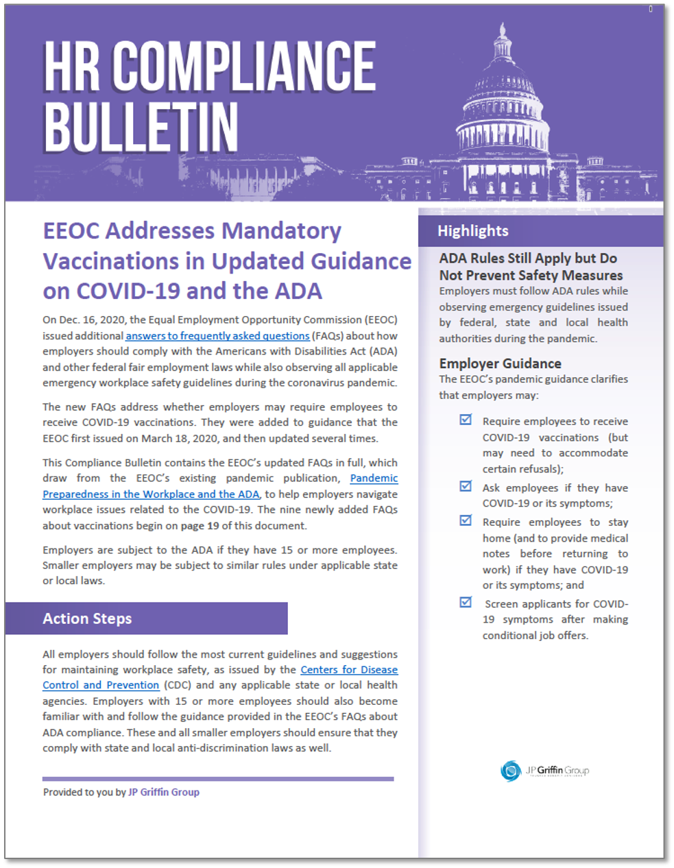 EEOC Addresses Mandatory Vaccinations in Updated Guidance on COVID-19 and the ADA
