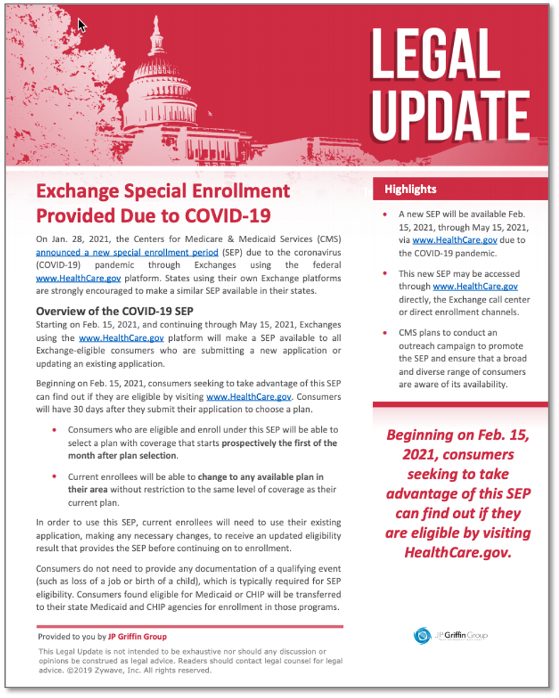 Exchange Special Enrollment Provided Due to COVID