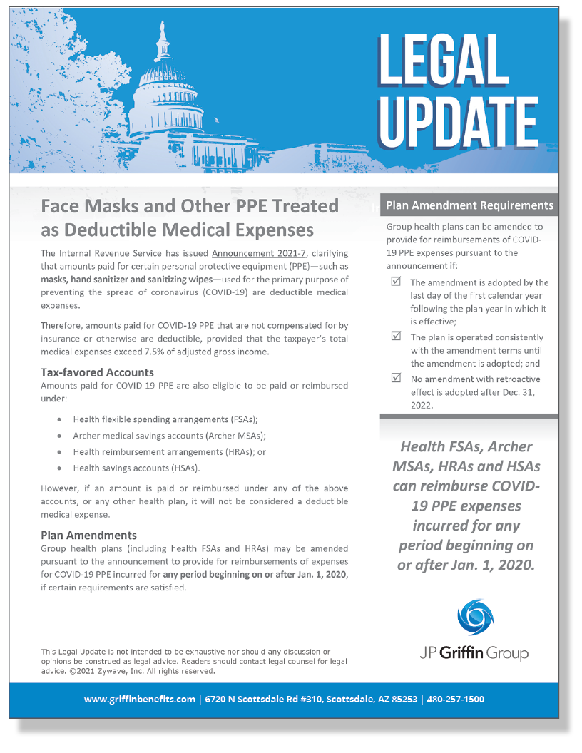 Face Masks and Other PPE Treated as Deductible Medical Expenses (3/30)