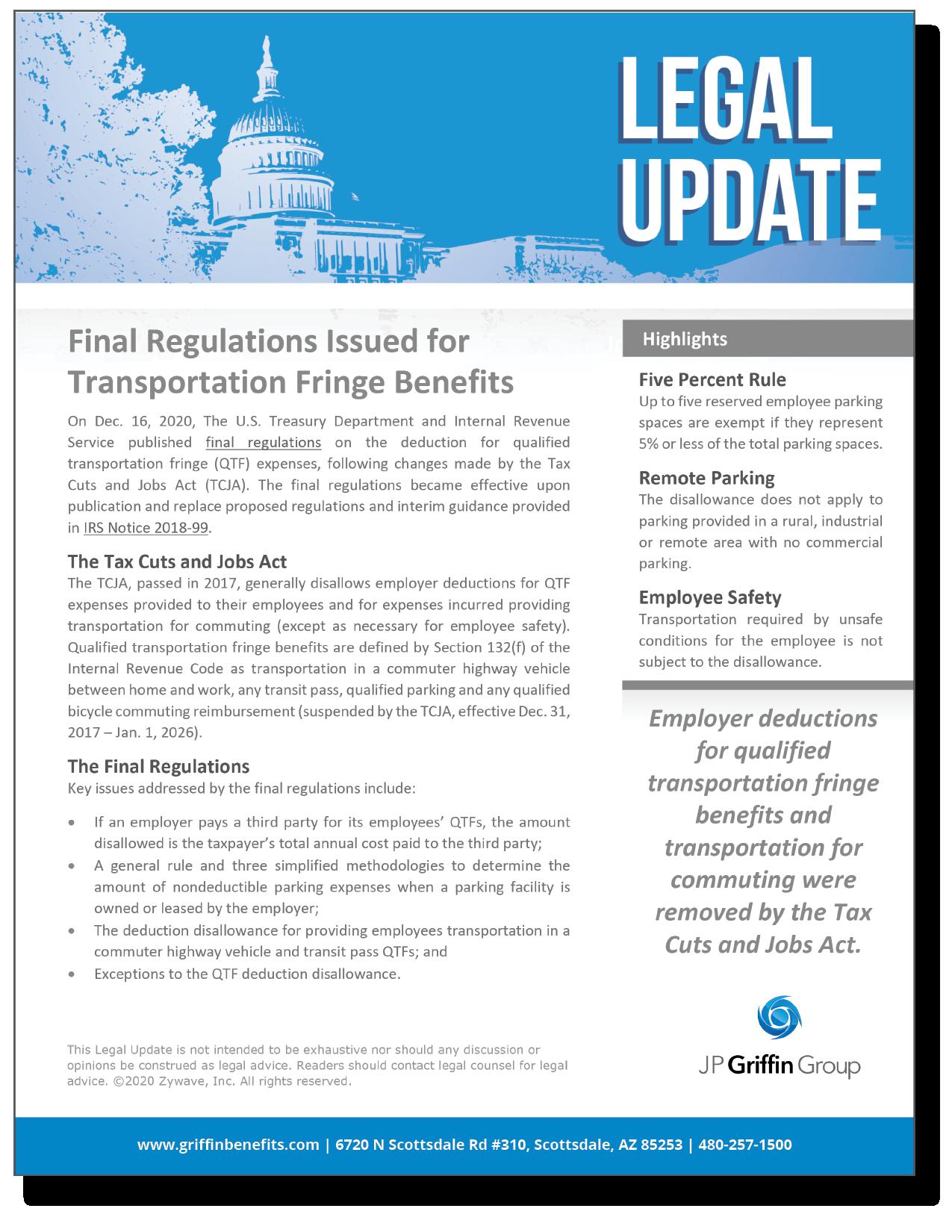 Final Regulations Issued for Transportation Fringe Benefits