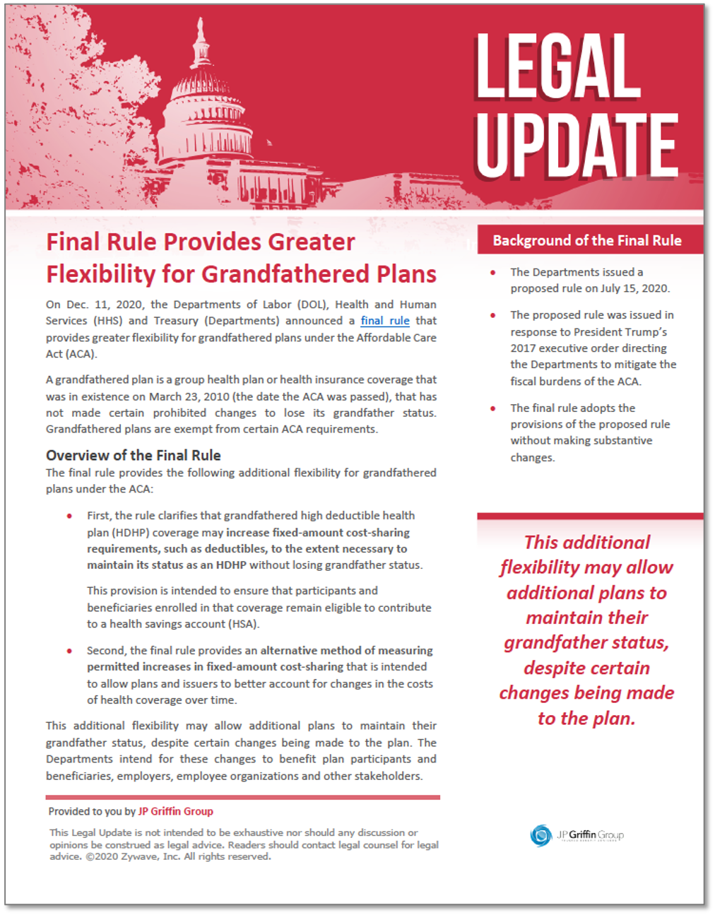 Final Rule Provides Greater Flexibility for Grandfathered Plans