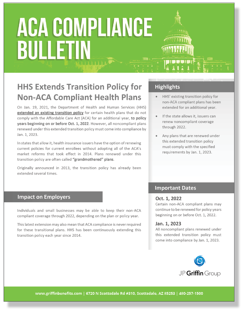 HHS Extends Transition Policy for Non-ACA Compliant Health Plans