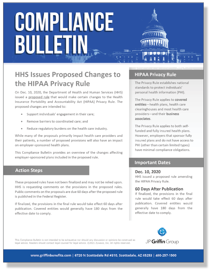 HHS Issues Proposed Changes to the HIPAA Privacy Rule