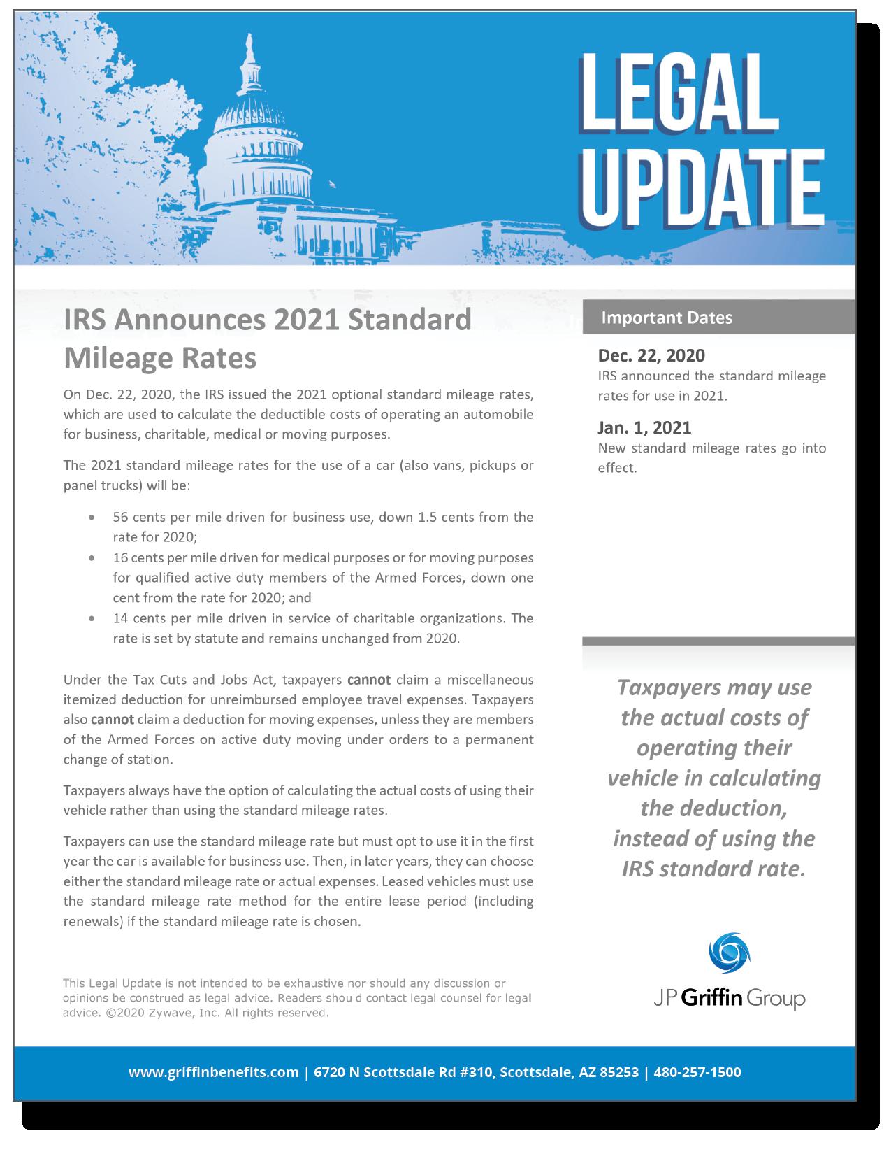 IRS Announces 2021 Standard Mileage Rates