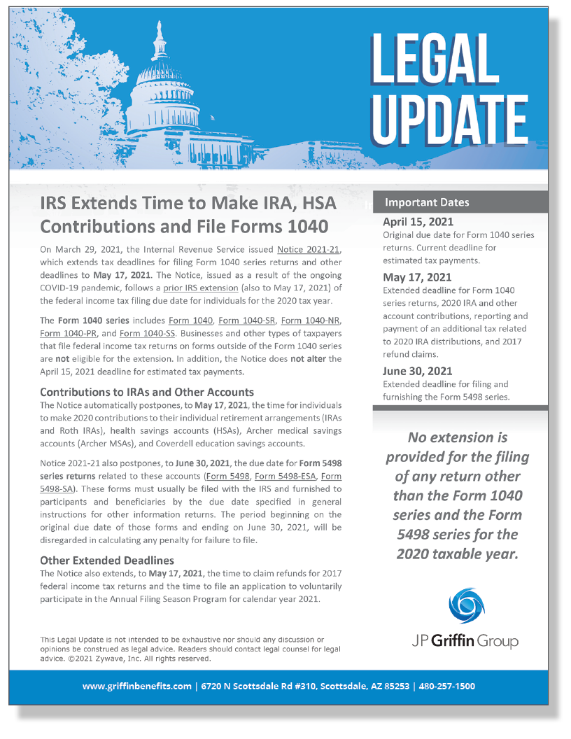 IRS Extends Time to Make IRA, HSA Contributions and File Forms 1040 (Added 3/30)