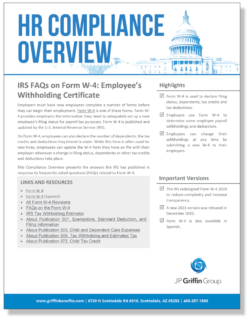 IRS FAQs on Form W-4 Employee's Withholding Certificate