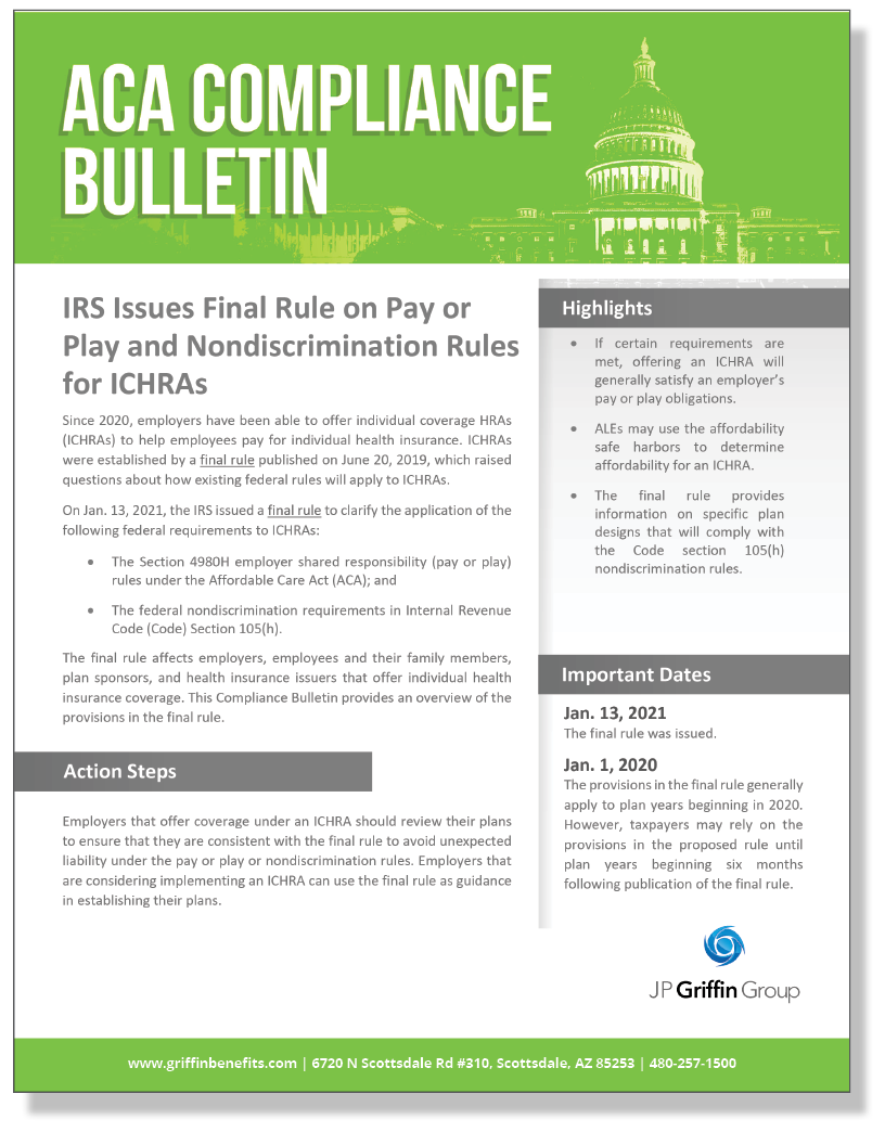 IRS Issues Final Rule on Pay or Play and Nondiscrimination Rules for ICHRAs